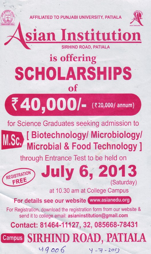 MSc in Biotechnology (Asian Institution)