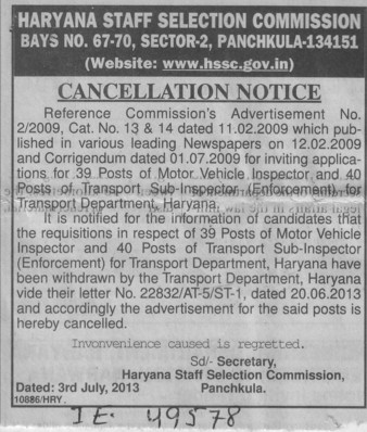 Cancellation notice for Inspector post (Haryana Staff Selection Commission (HSSC))