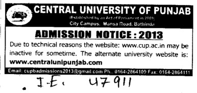 Website not working due to technical reasons (Central University of Punjab)