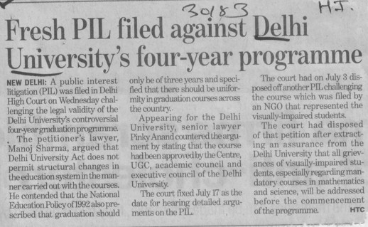 Fresh PIL filed against DU 4yrs program (Delhi University)