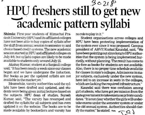 Freshers still get new academic pattern syllabi (Himachal Pradesh University)