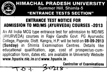 MD and MS courses (Himachal Pradesh University)