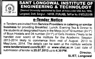Catering services (Sant Longowal Institute of Engineering and Technology SLIET)