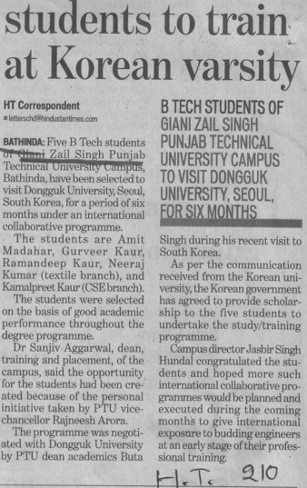 Students to train at Korean Varsity (Giani Zail Singh College of Engineering and Technology GZCET)