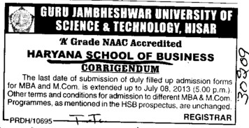 Admission forms of MBA and MCom (Guru Jambheshwar University of Science and Technology (GJUST))