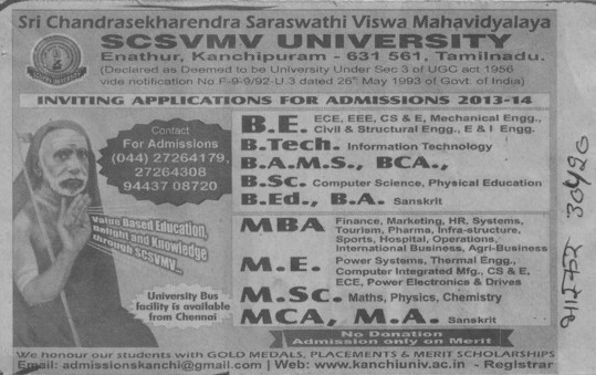 BAMS, ME and MS (Sri Chandrasekharendra Saraswathi Vishwa Mahavidyalaya Deemed University)