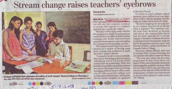 Stream change raises teachers eyebrows (Delhi University)
