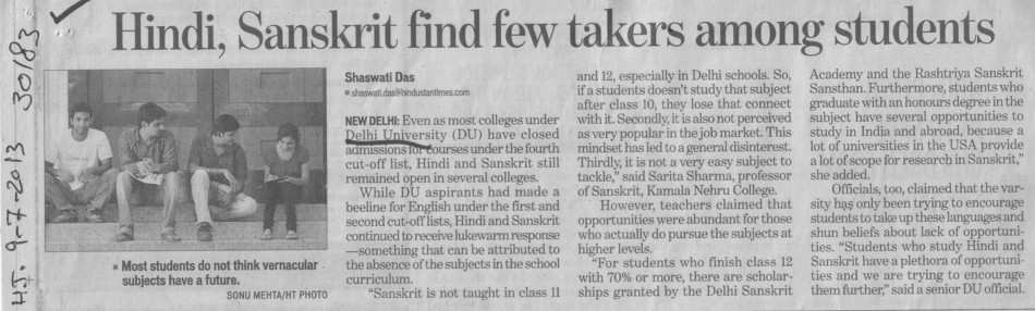 Hindi, Sanskrit find few takers among students (Delhi University)