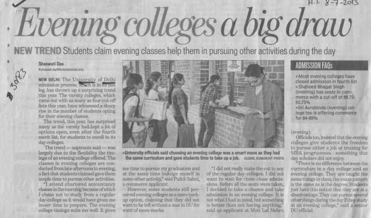 Evening colleges a big draw (Delhi University)