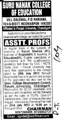 Asstt Professor (Guru Nanak College of Education)