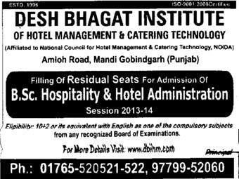 BSc in Hospitality (Desh Bhagat Institute of Hotel Management and Catering Technology)