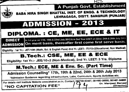 Diploma in ME, ECE and IT (Baba Hira Singh Bhattal Institute of Engineering and Technology (BHSBIET))