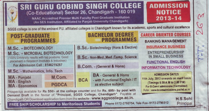 MSc in Biotechnology (SGGS Khalsa College Sector 26)