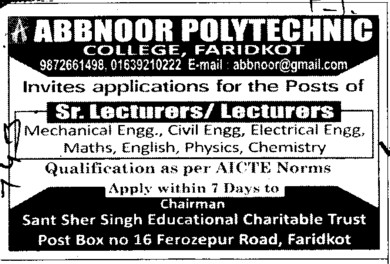 Senior Lecturers (Abbnoor Polytechnic College)