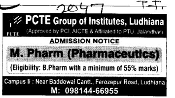 M Pharm (PCTE Group of Insitutes Baddowal)