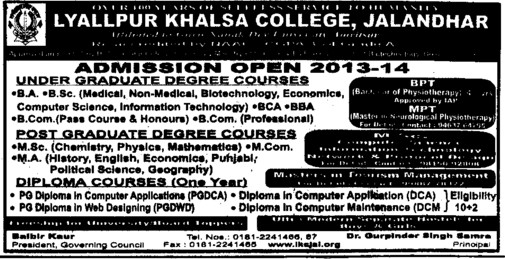 BA and BSc (Lyallpur Khalsa College of Boys)