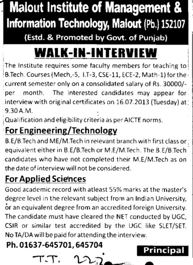 Faculty for BTech (Malout Institute of Management and Information Technology MIMIT)