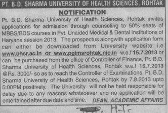 MBBS and BDS (Pt BD Sharma University of Health Sciences (BDSUHS))