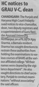HC notice to GRAU VC dean (Guru Ravidass Ayurved University (GRAU))