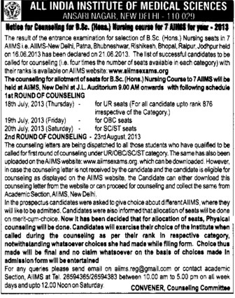 BSc Nursing (All India Institute of Medical Sciences (AIIMS))