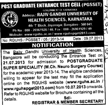 Post Graduate super speciality course (Rajiv Gandhi University of Health Sciences RGUHS)