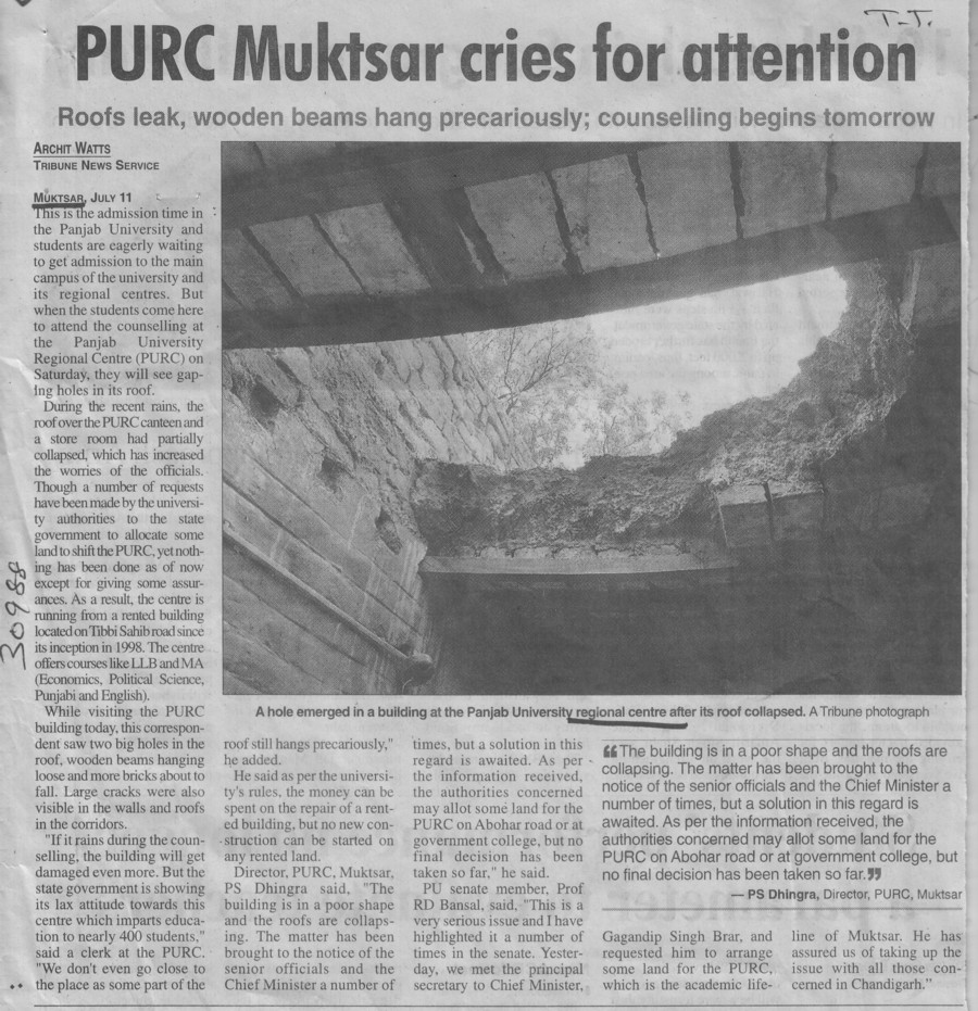 PURC Muktsar cries for attention (Panjab University Regional Centre, Department of Law)