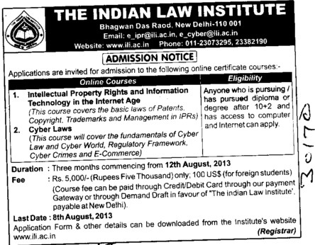 Cyber Law courses (Indian Law Institute)