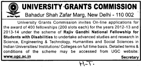 Fellowship for Students with disabilities (University Grants Commission (UGC))