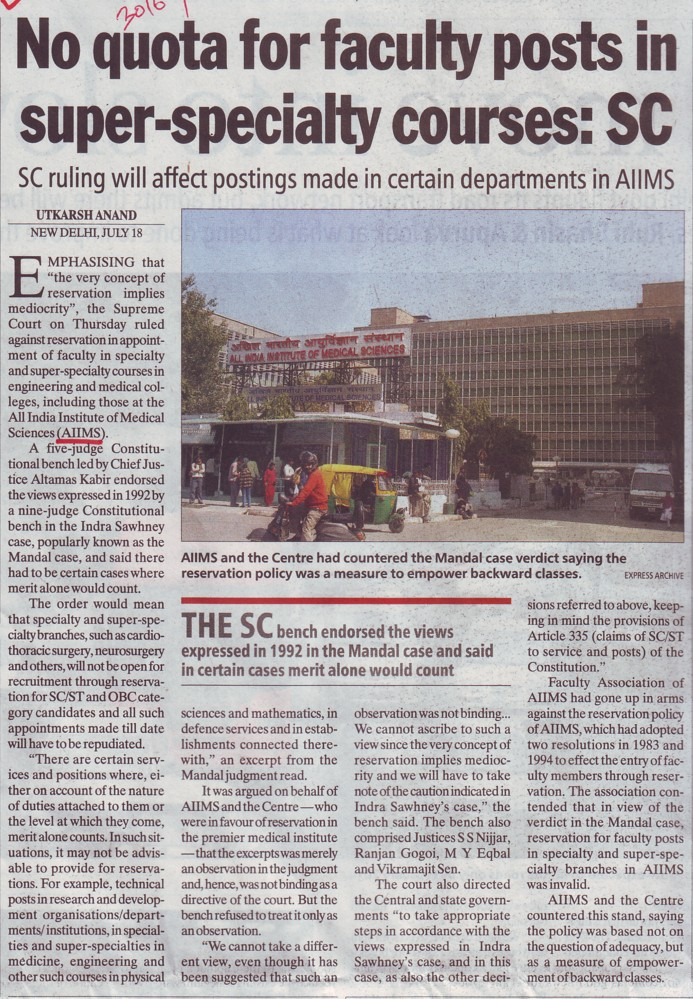 No quota for faculty posts in Super specialty courses, SC (All India Institute of Medical Sciences (AIIMS))