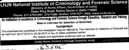 Changes in vacancy (Lok Nayak Jayaprakash National Institute of Criminology and Forensic Science)