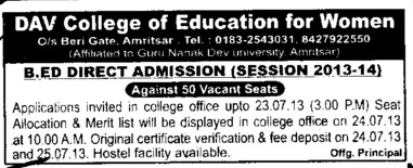 B Ed course (DAV College of Education for Women)