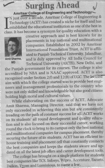 MD Amit Sharma speaks about Surging Ahead (Amritsar College of Engineering and Technology ACET Manawala)