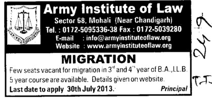 Migration of BA and LLB course (Army Institute of Law)