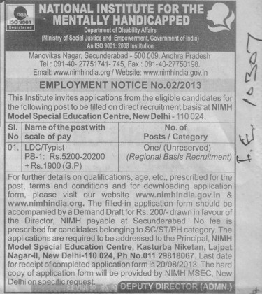 LDC typist (National Institute for the Mentally Handicapped (NIMH))