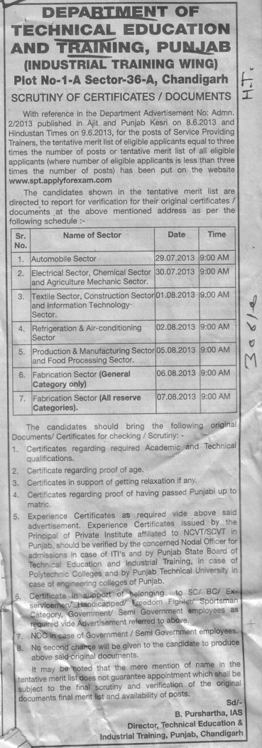 Scrutiny of Certificates (Punjab State Board of Technical Education (PSBTE) and Industrial Training)