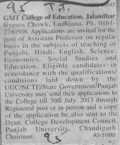 Asstt Professor on regular basis (GMT College of Education)