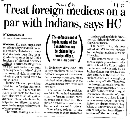 Treat foreign medicos on par with Indians, says HC (All India Institute of Medical Sciences (AIIMS))