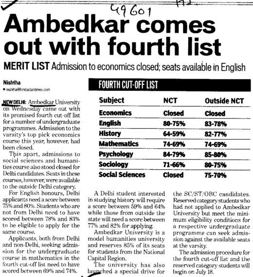 Ambedkar comes out with 4th list (Bharat Ratna Dr BR Ambedkar University)