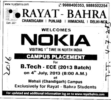 Nokia visit college for Campus Placement (Rayat and Bahra Group)