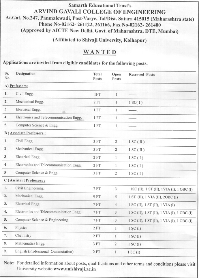 Asstt and Associate Professor (Arvind Gavali College of Engineering)