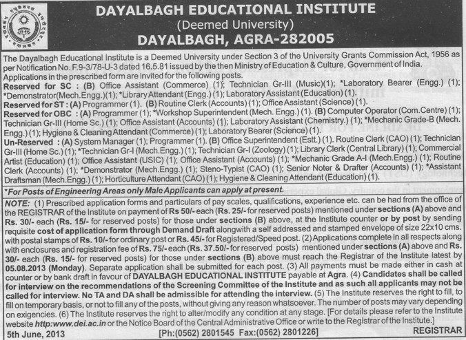 Laboratory Asstt (Dayalbagh Educational Institute Deemed University)
