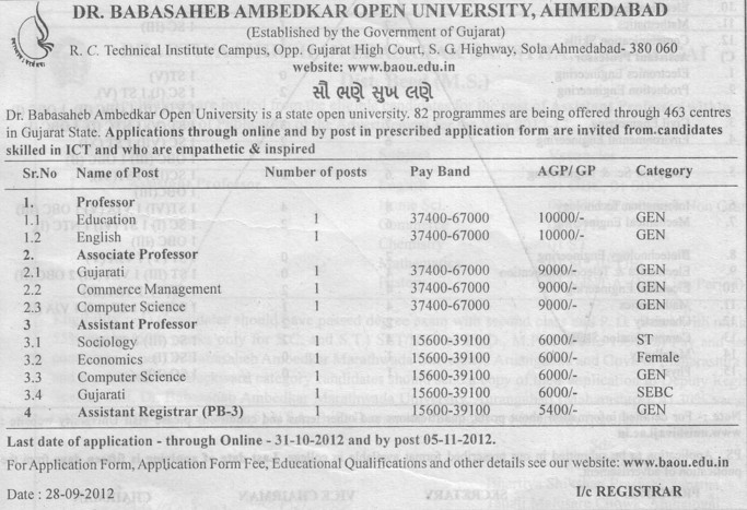 """dr babasaheb ambedkar open university baou The applicant should ensure that the application is submitted to the university through registered post ad/speed post so as to reach to the registrar, dr babasaheb ambedkar open university, """"jyotirmay' parisar, sarkhej gandhinagar highway,chharodi, ahmedabad – 382 481."""