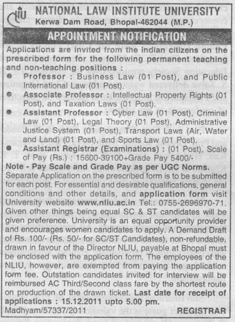 Asstt Professor (National Law Institute University (NLIU))