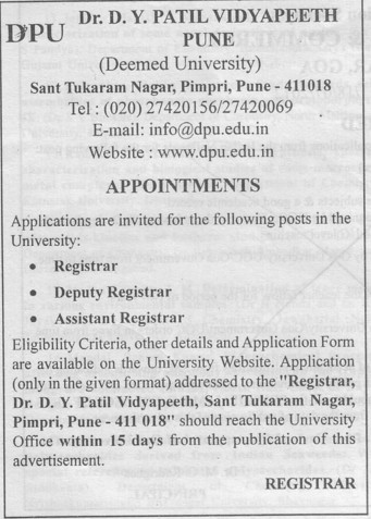 Registrar and Dy Registrar (Dr DY Patil University)