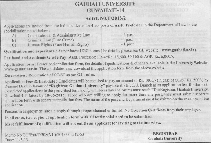 Asstt Professor in Criminal Law (Gauhati University)