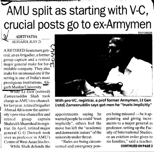AMU split as starting with VC, crucial posts go to ex Armymen (Aligarh Muslim University (AMU))