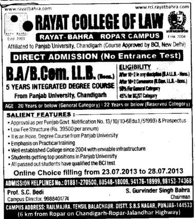 BA and BCom (Rayat College of Law)