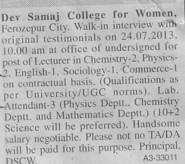 Lecturer for Physics and Chemistry (Dev Samaj College for Women)