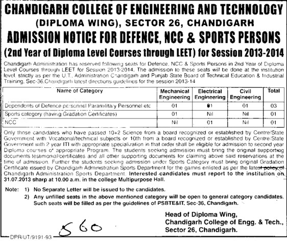 BTech through LEET (Chandigarh College of Engineering and Technology (CCET))