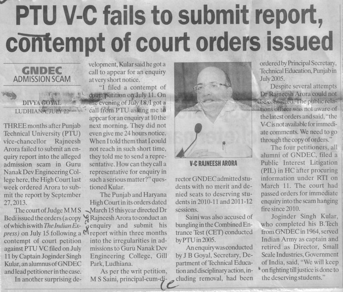 PTU VC fails to submit report, contempt of court orders issued (Punjab Technical University PTU)